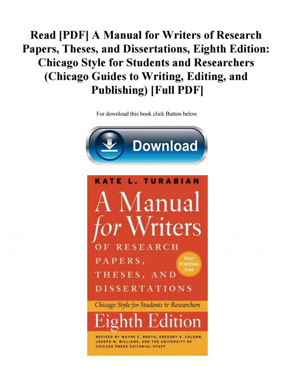 004 Manual For Writers Of Researchs Theses And Dissertations 8th Edition Pdf Page 1 Magnificent A Research Papers Large