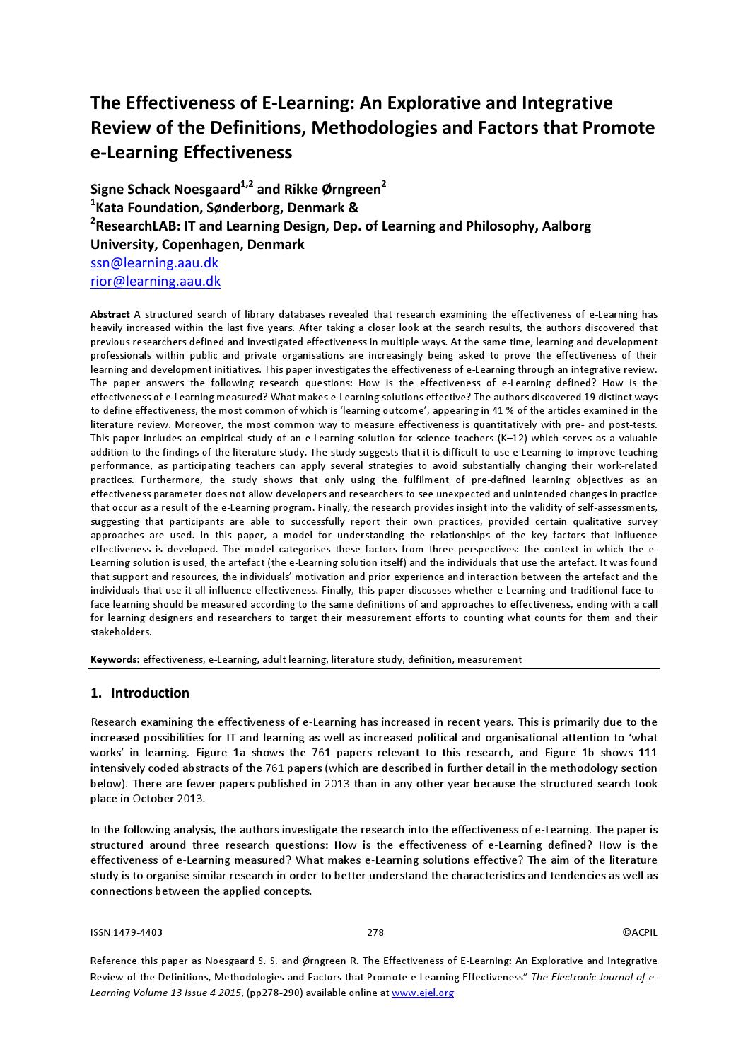 004 Page 1 Effectiveness Of Online Education Research Amazing Paper Full