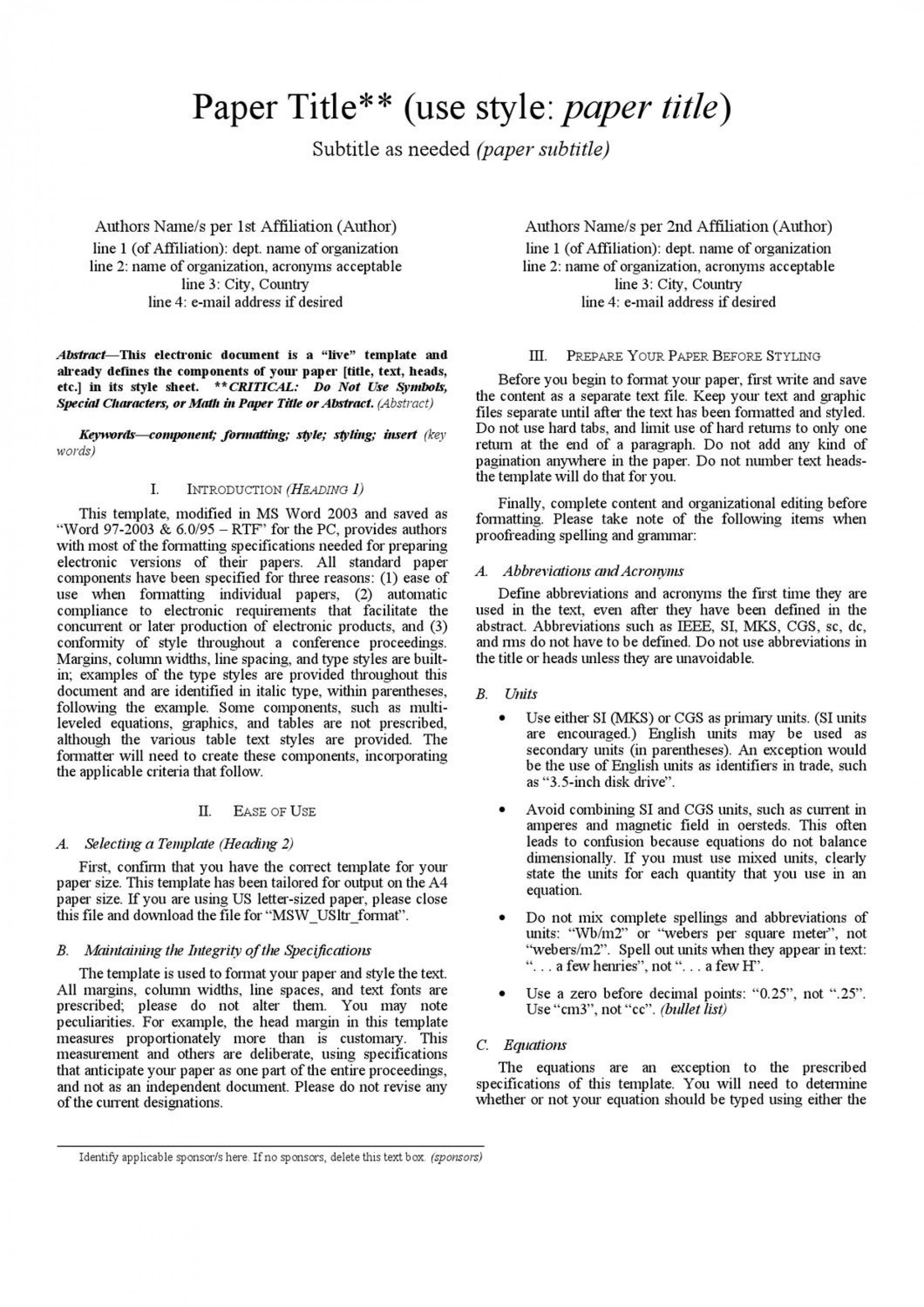 004 Page 1 Research Paper Ieee Wonderful Format Sample Online In Word 1920