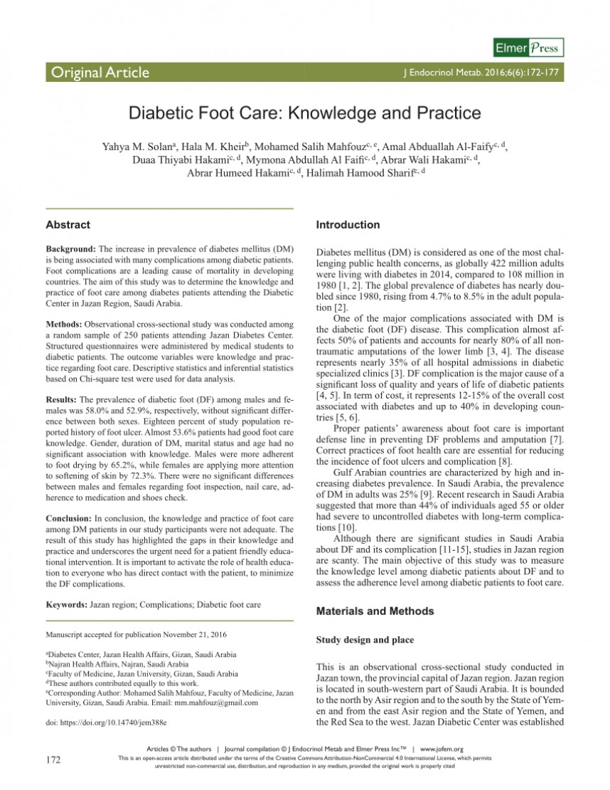 004 Research Paper Diabetic Foot Papers Excellent Ulcers