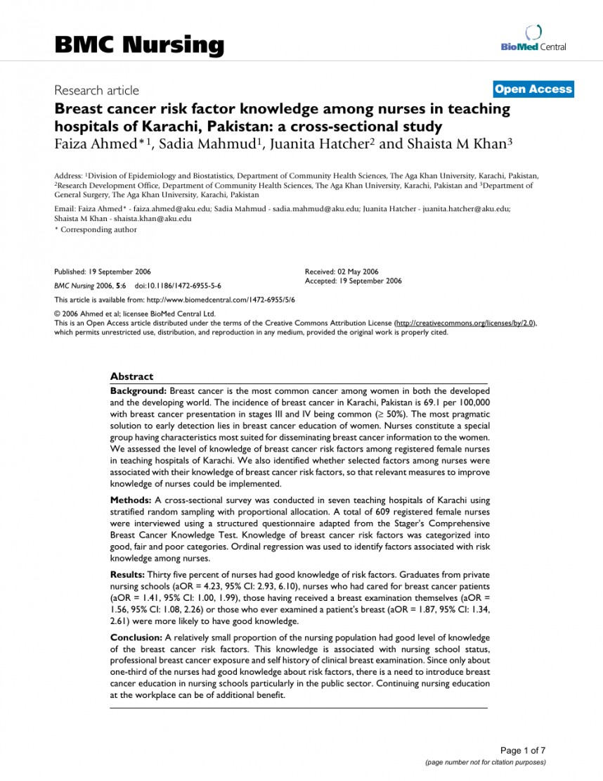 004 Research Paper Nursing Studies On Breast Unforgettable Cancer