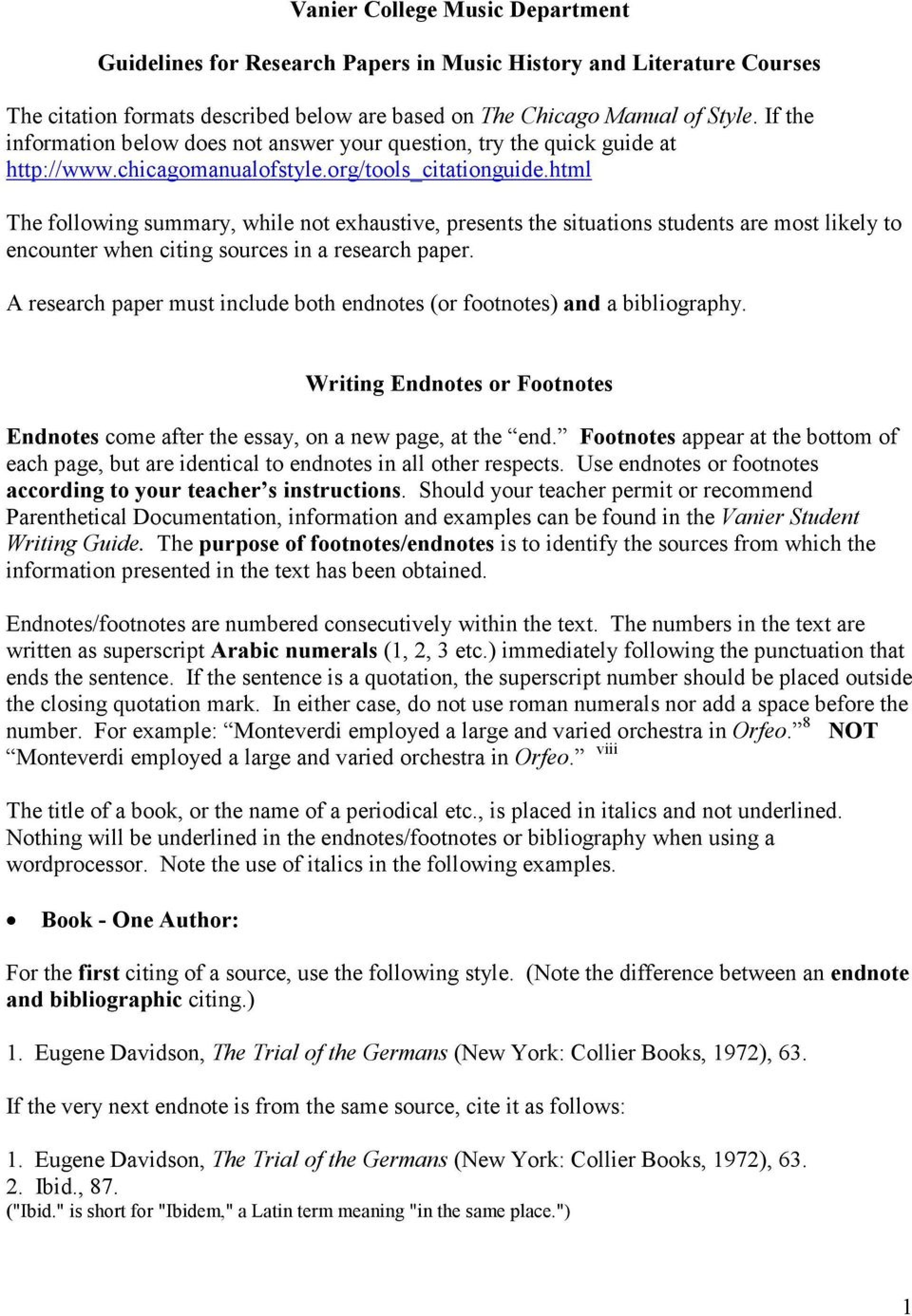 004 Research Paper Page 1 Footnotes Endnotes Formidable In How To Use And A 1920