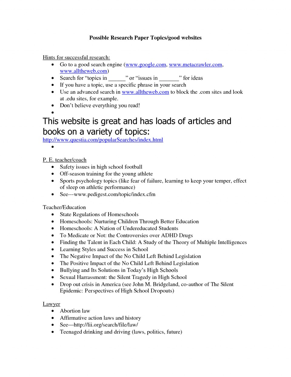 004 Research Paper Topics Awful For Interesting Papers High School In Physical Education College 960