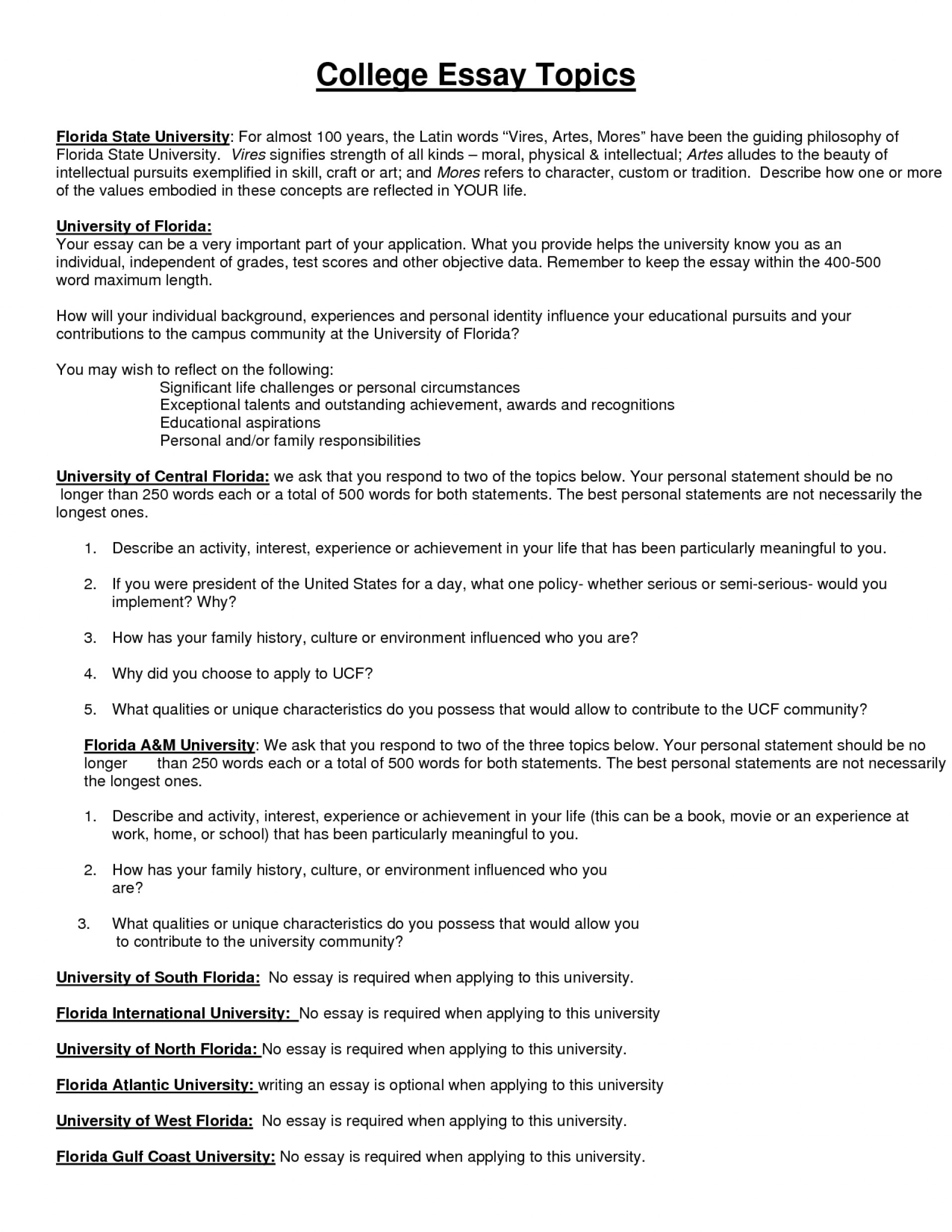 college essay sample topics for recommendation