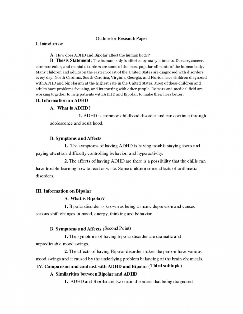 004 Thesis Statement For Bipolar Disorder Research Paper Essay L Outline On Fantastic A Depression Large
