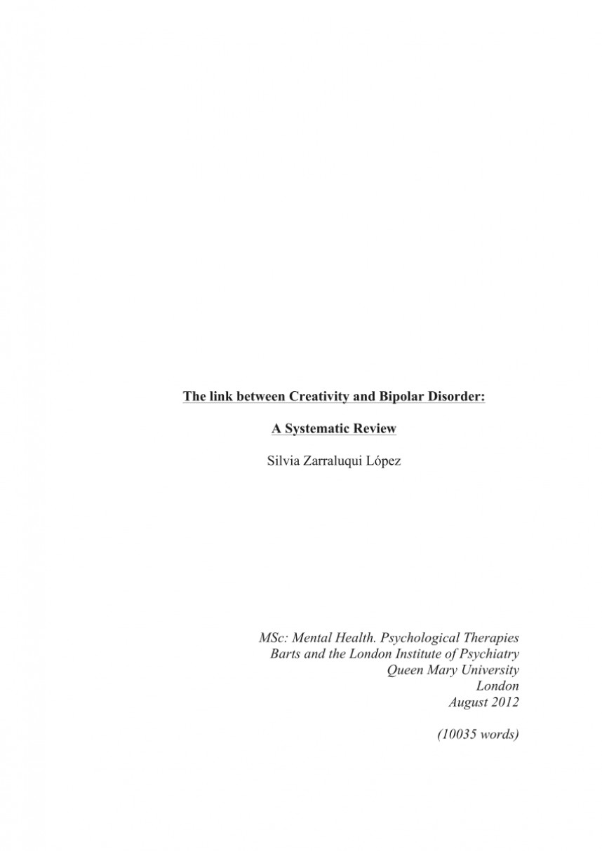 005 Bipolar Disorder Research Paper Thesis Fantastic Statement On For