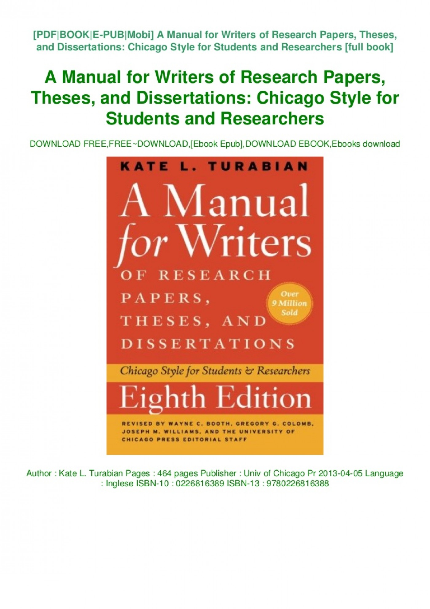 005 Book Manual For Writers Of Researchs Theses And Thumbnail Dissertations Sensational A Research Papers Ed. 8 8th Edition Ninth Pdf 1400