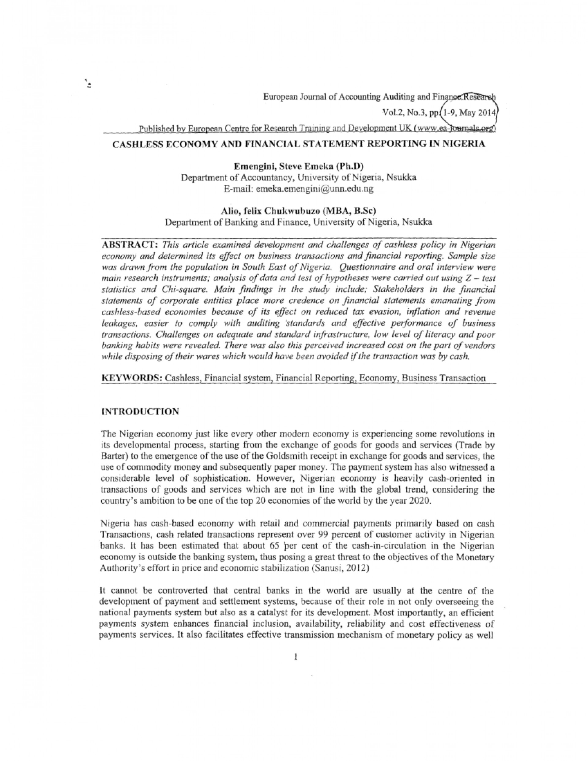005 Cashless Economy Research Paper Frightening Papers Pdf Cash To 1920
