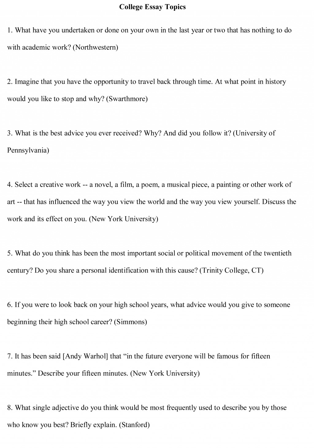 005 College Essay Topics Free Sample1 Good For Research Paper Breathtaking In Interesting Students Papers Large
