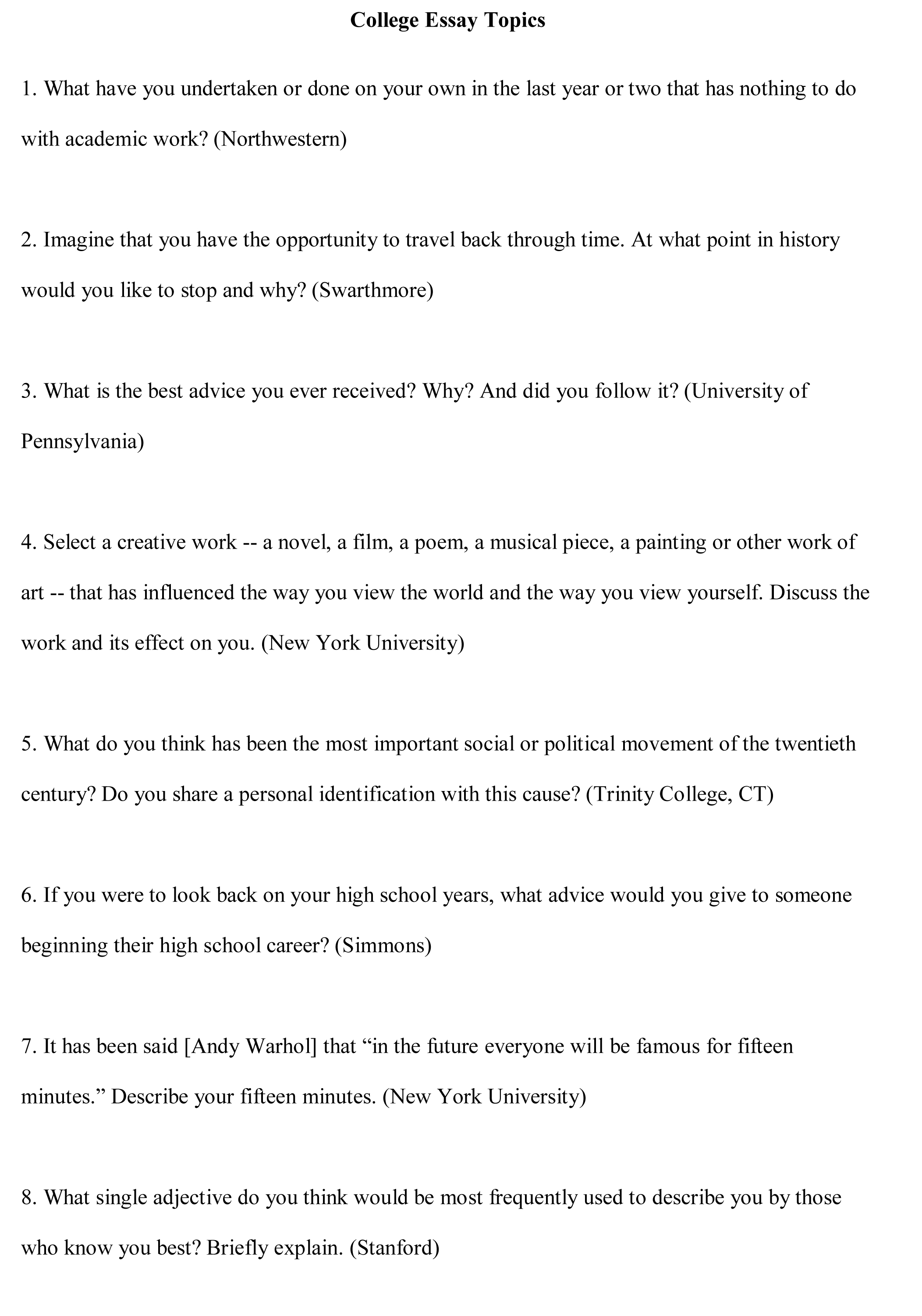 005 College Essay Topics Free Sample1 Good For Research Paper Breathtaking In Interesting Students Papers Full