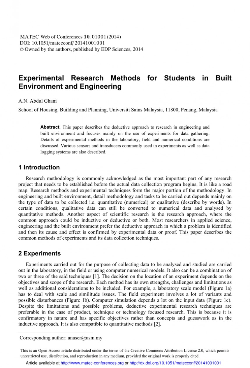 005 Experimental Method In Research Paper Rare Pdf Marketing Of Sample