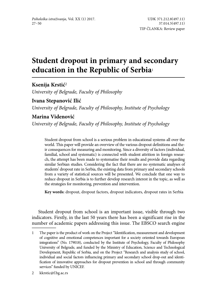 effects of school dropout pdf