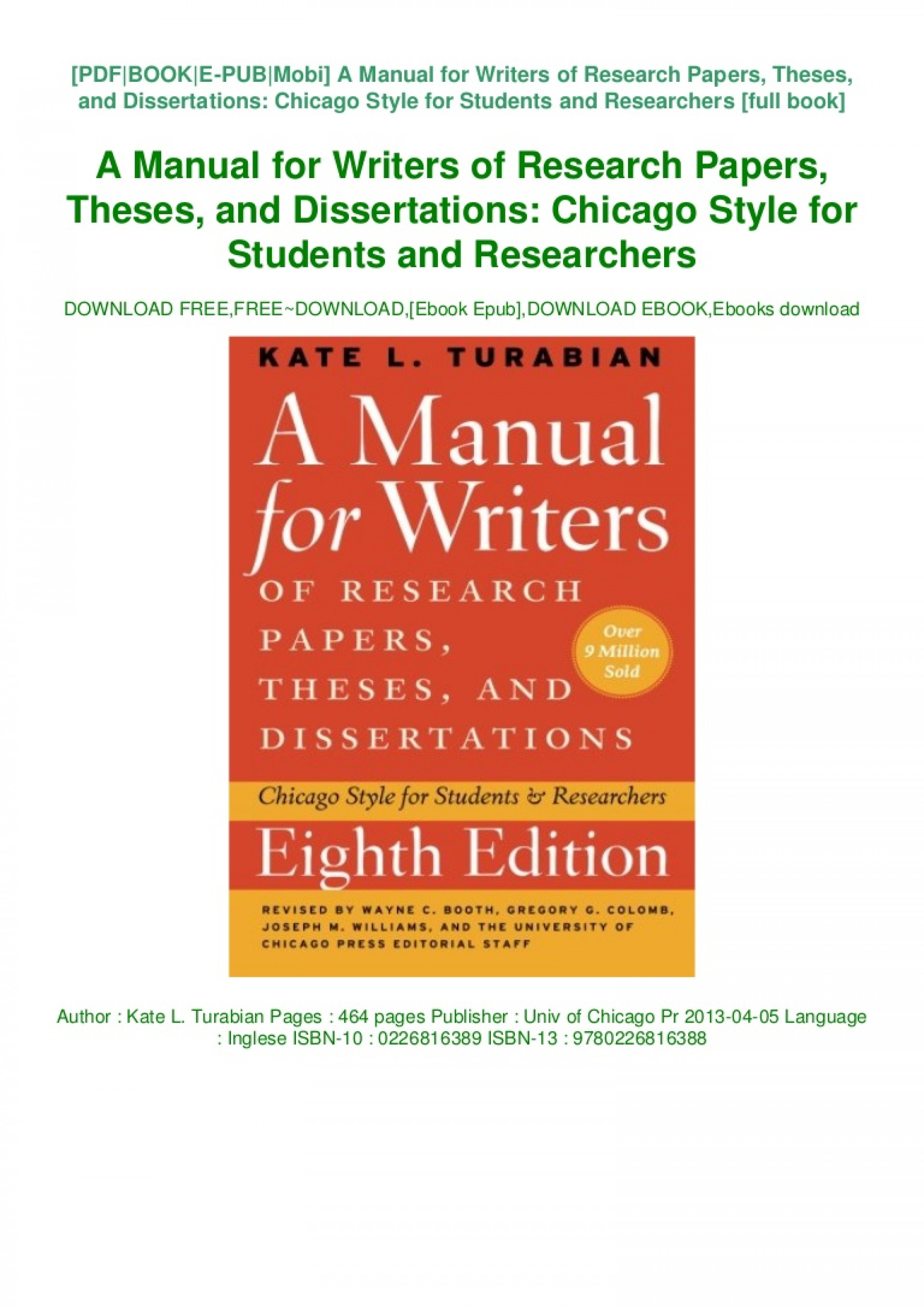 005 Manual For Writers Of Researchs Theses And Dissertations Book Thumbnail Magnificent Research Papers A Amazon 9th Edition Pdf 8th 13 1920
