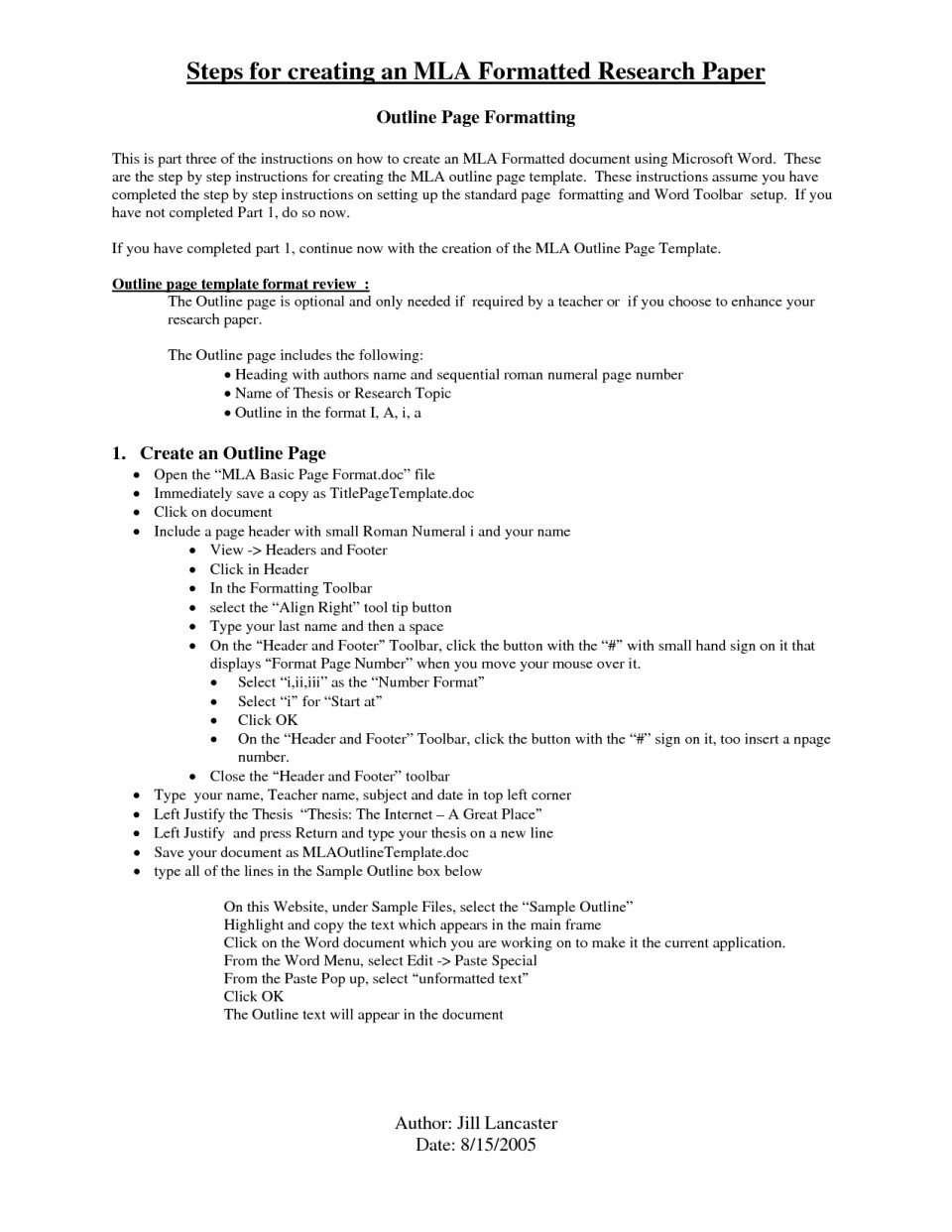 005 Mla Research Paper Outline Format Papers Template 477498 Unbelievable 8 960