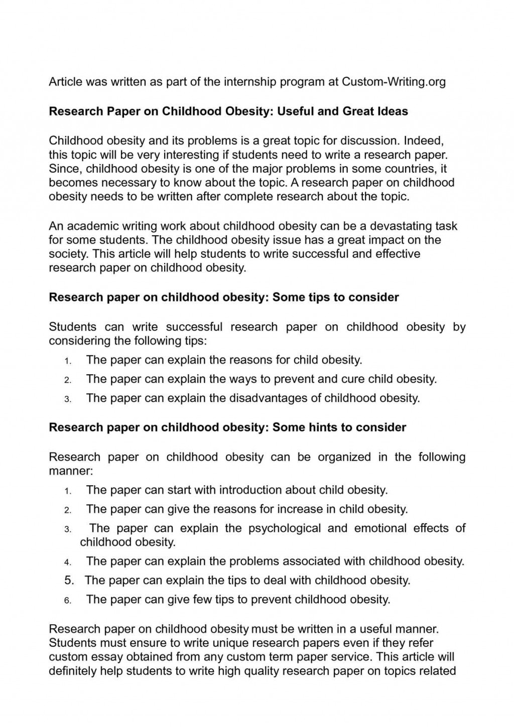 005 Obesity Research Paper Topics Fascinating Childhood Large