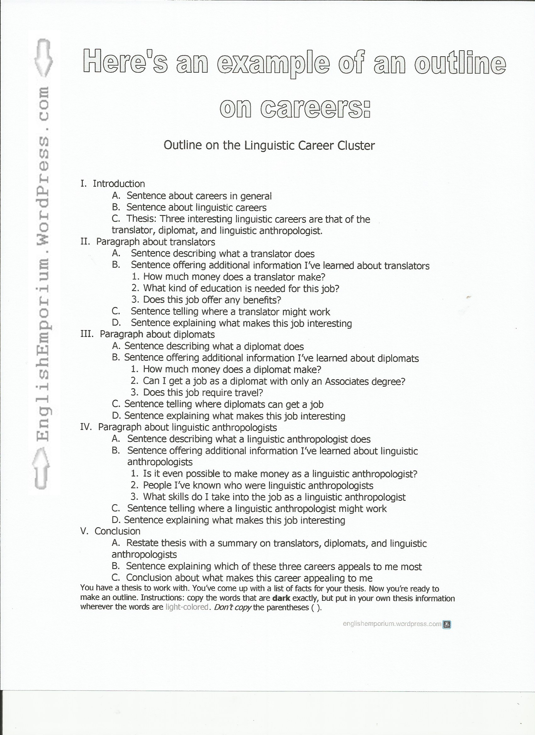 005 Outline On Careers Pg Career Research Paper Unusual Template Full