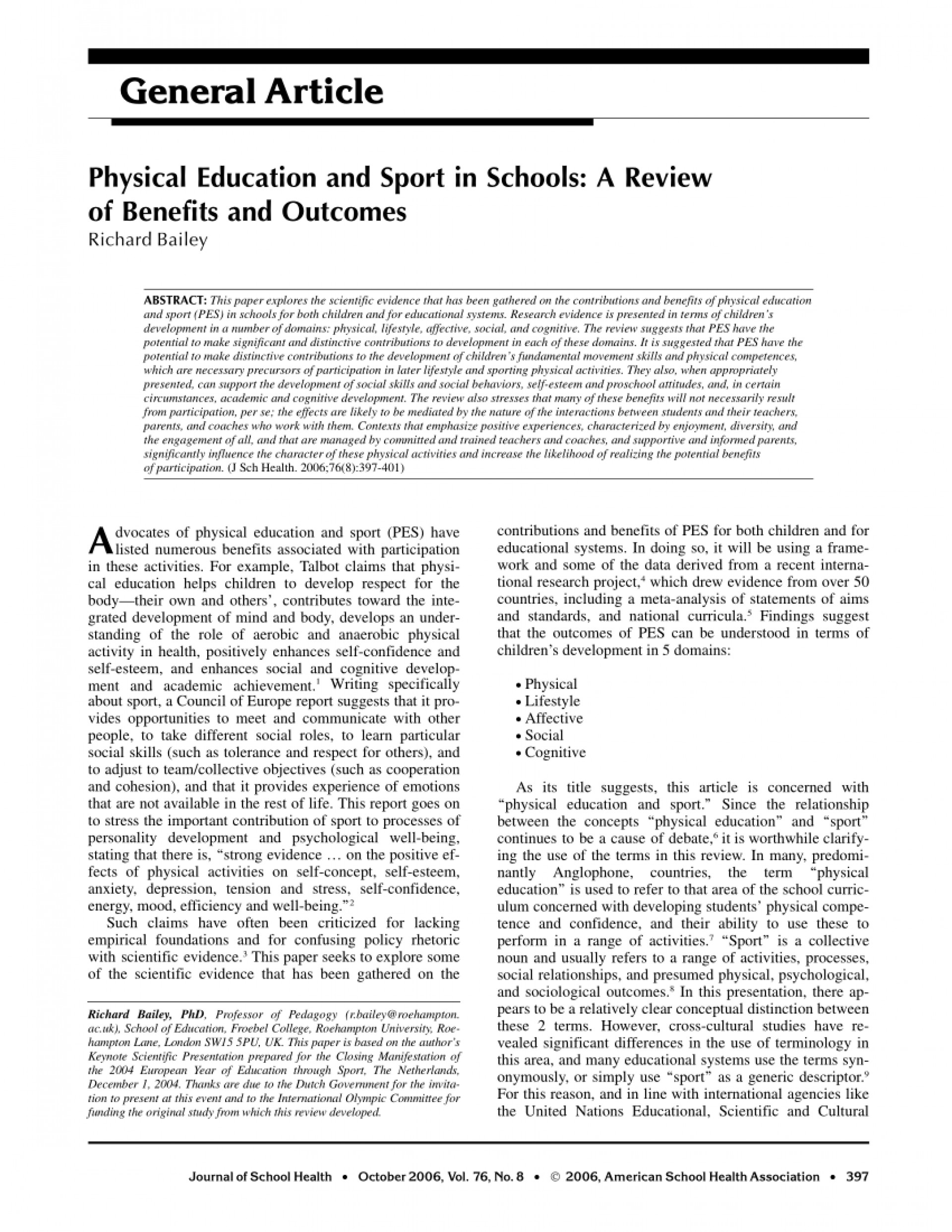 005 Physical Education Research Paper Thesis Pdf Remarkable 1920