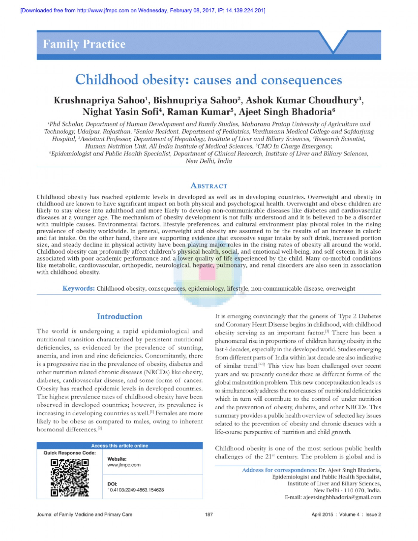 005 Primary Research Article On Childhood Obesity Largepreview Imposing 1400