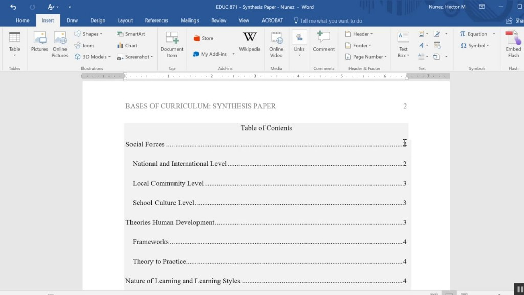 005 Research Paper Apa Style Sample With Table Of Contents Remarkable Large