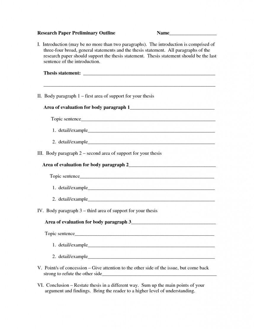 005 Research Paper Blank Outline Template For Breathtaking A