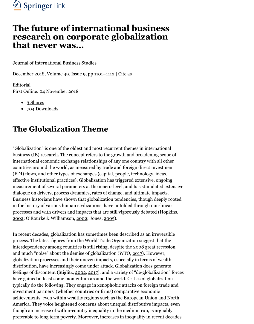 005 Research Paper Business Topics For Globalization Magnificent Full