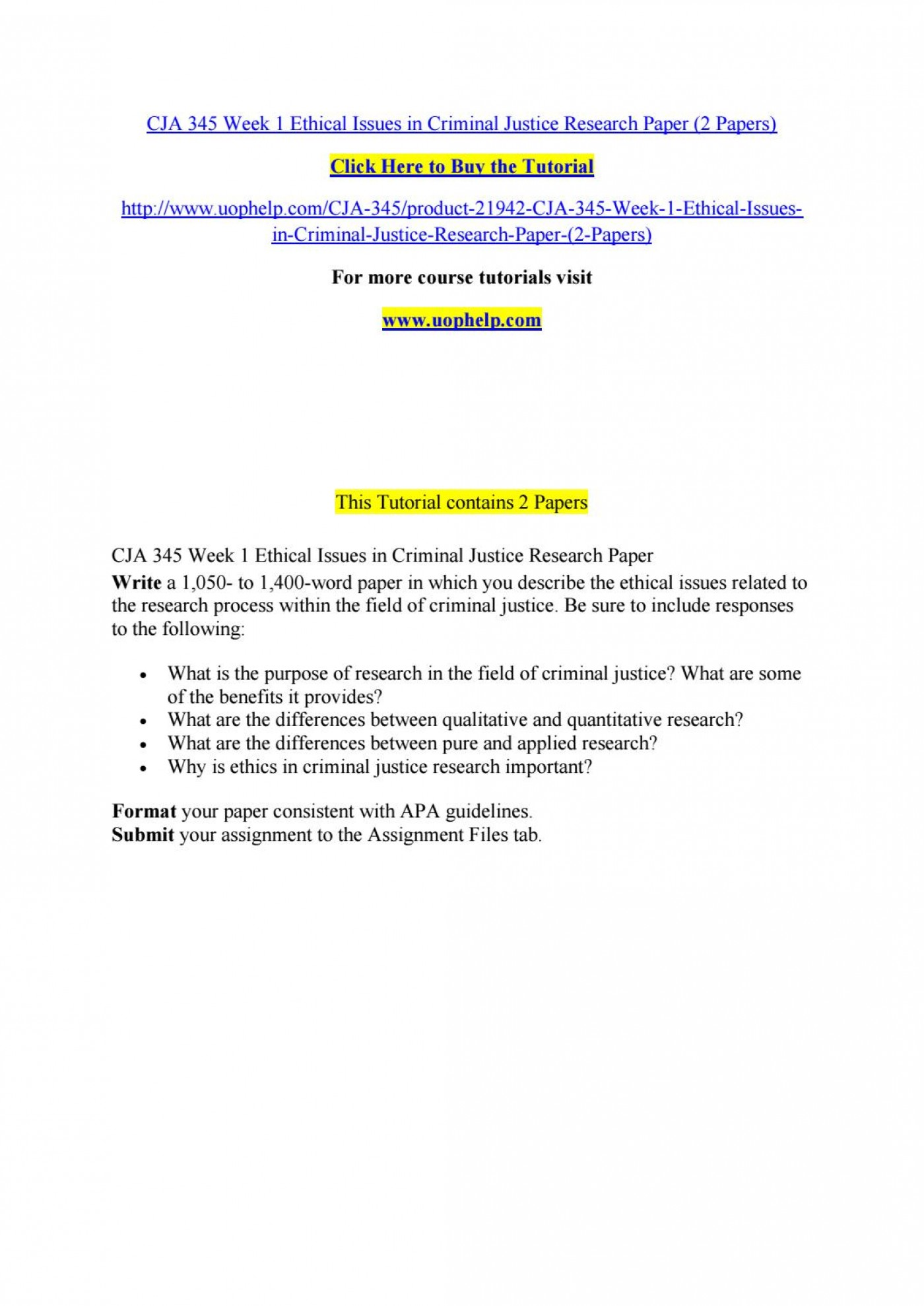 005 Research Paper Criminal Justice Papers Page 1 Formidable Free Sample 1400