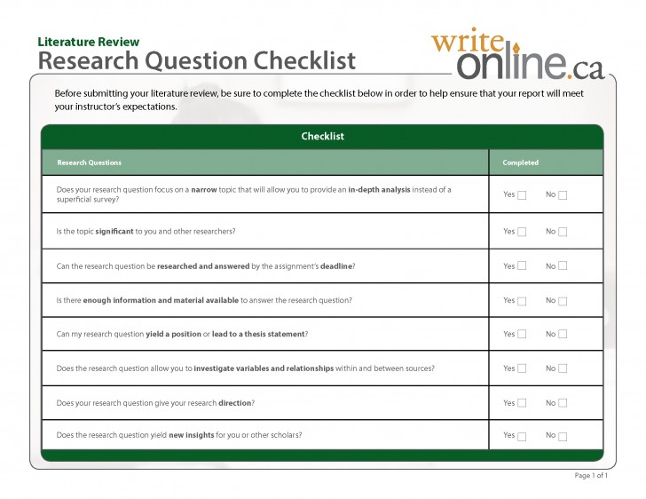 005 Research Paper How To Write Questions Pdf Researchquest Checklist Astounding And Hypotheses Objectives 728