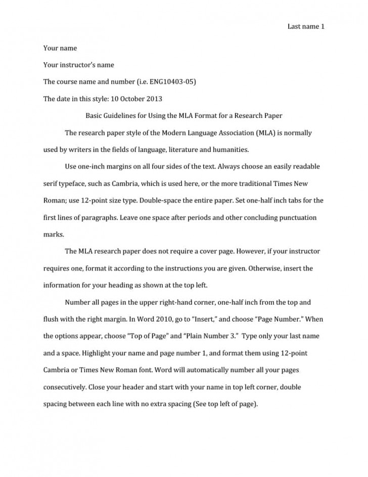 005 Research Paper In Mla Format Template Unbelievable Style Example With Title Page Outline 728