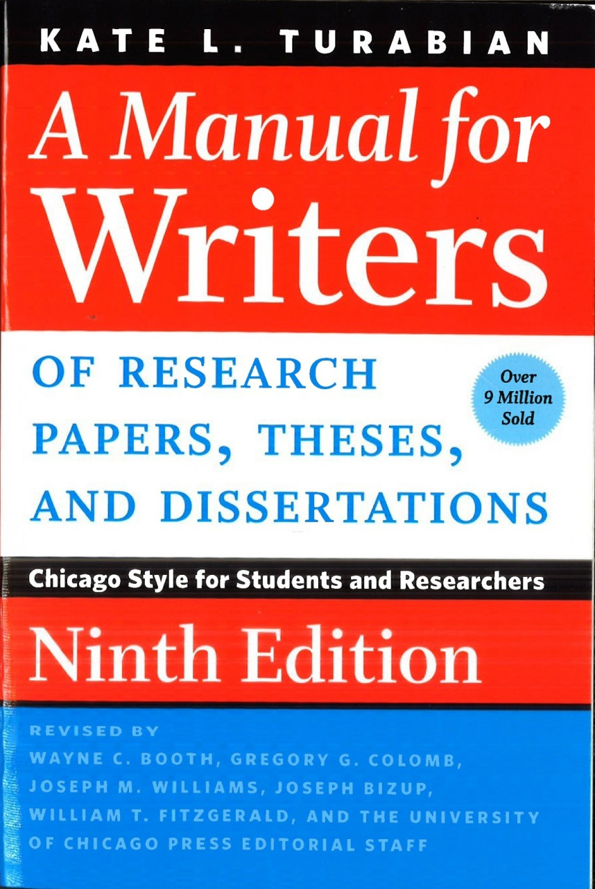 005 Research Paper Manual For Writers Of Papers Theses And Dissertations 9th Frightening A Edition Pdf