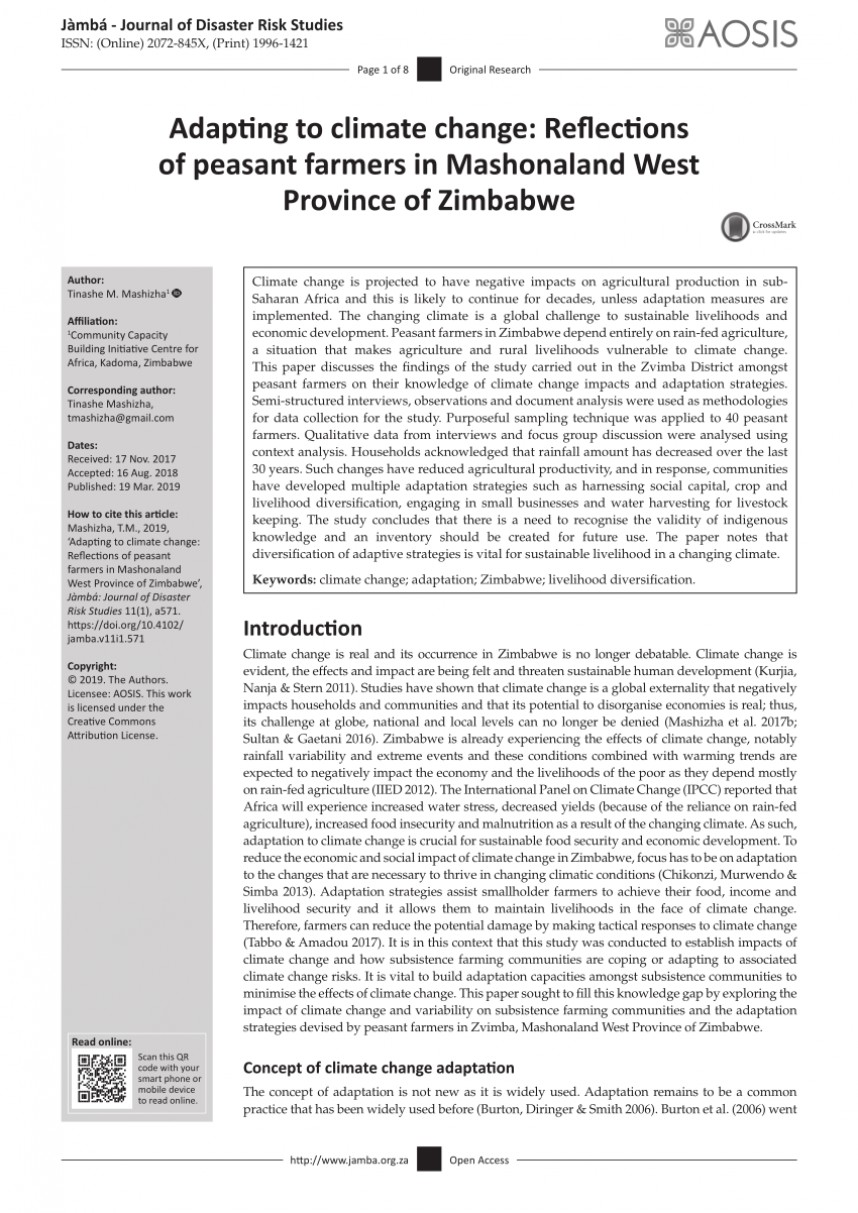 005 Research Paper Pdf Papers On Climate Change In Zimbabwe Imposing 868