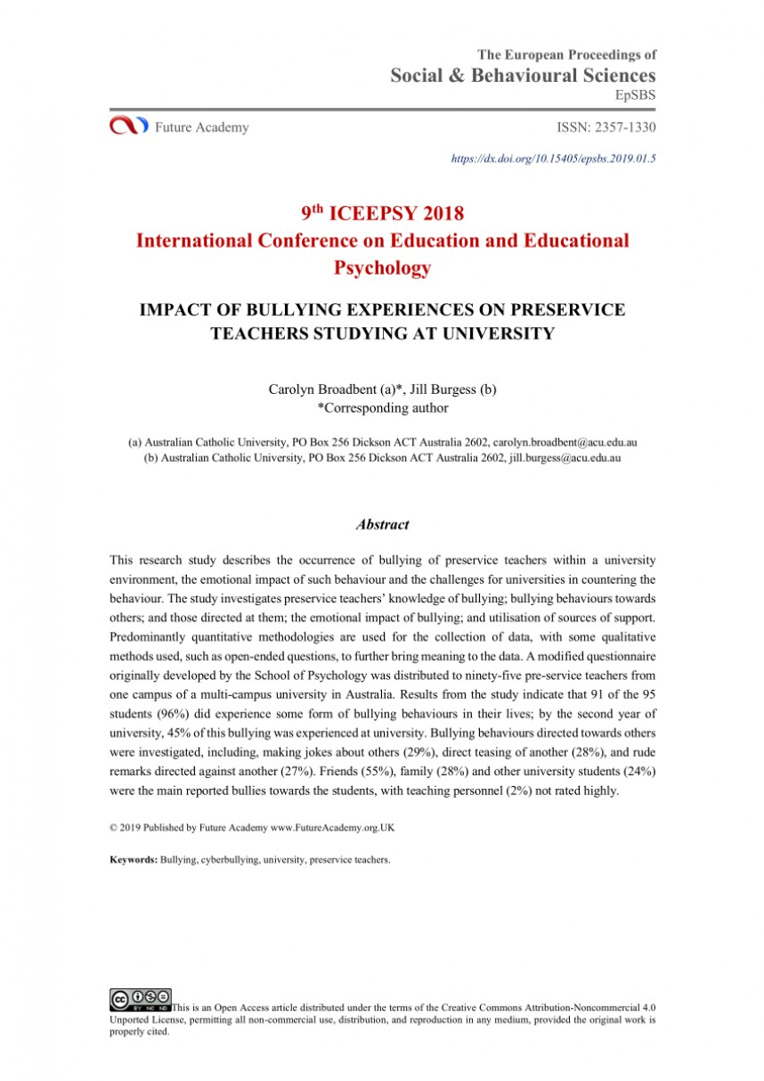 005 Research Paper Psychological Effects Of Bullying Breathtaking 868