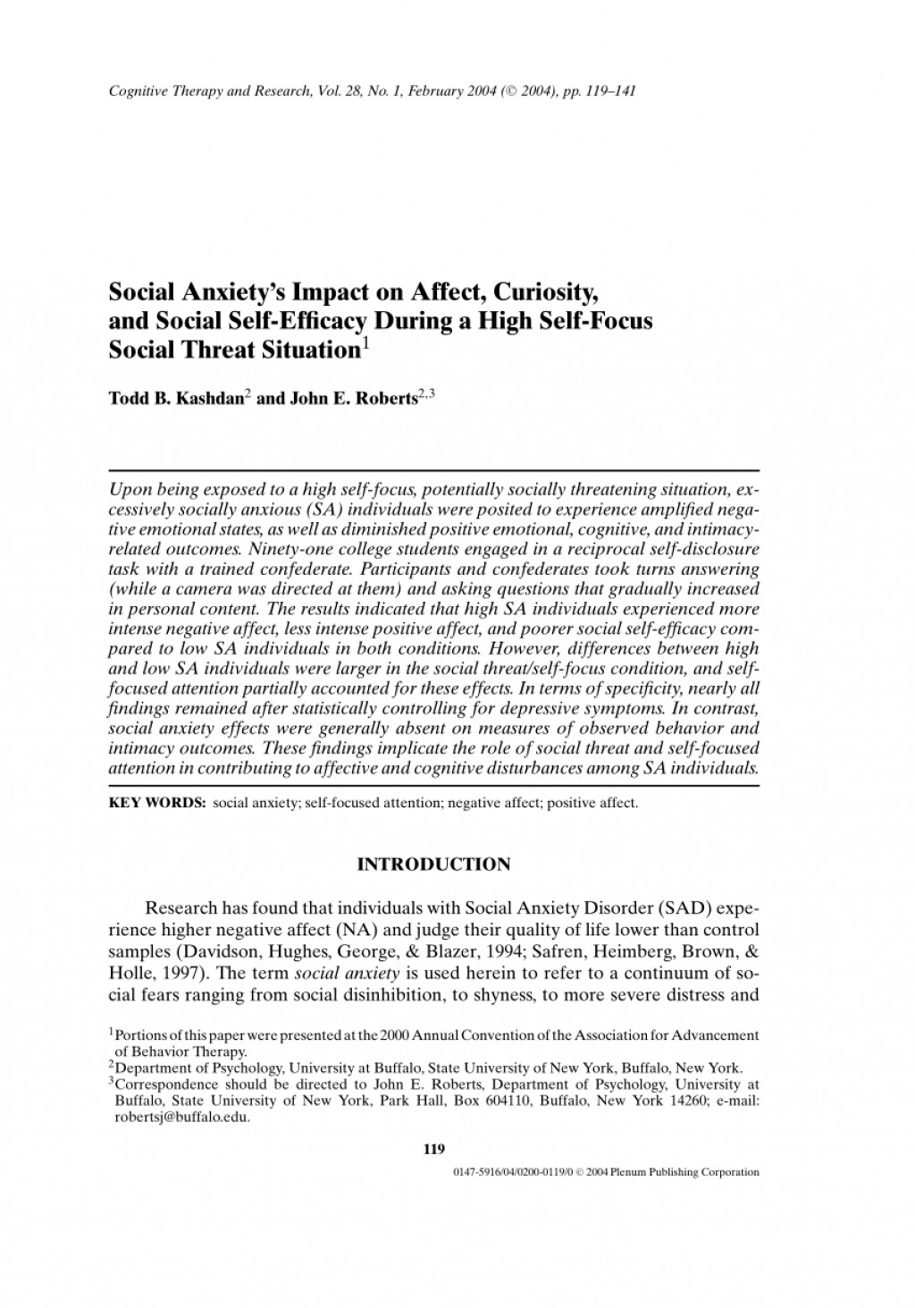 005 Research Paper Psychology On Social Anxiety Disorder Staggering Large