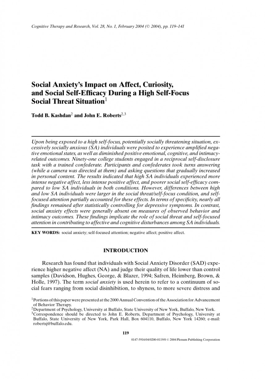 005 Research Paper Psychology On Social Anxiety Disorder Staggering 868