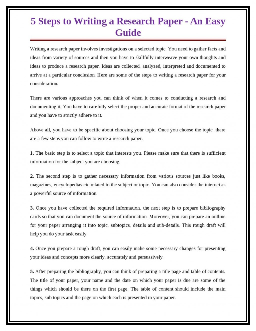 005 Research Paper Steps For Writing Page 1 Breathtaking A In Ppt 10 To Write Basic Easy Large