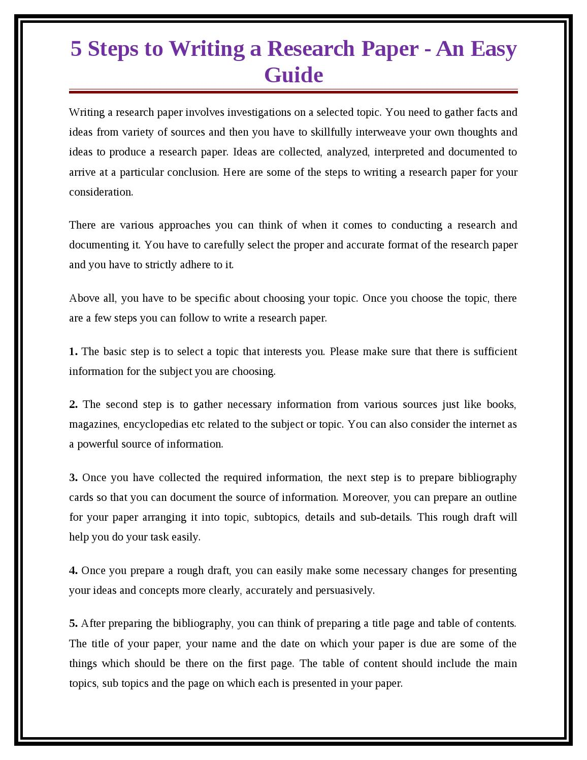005 Research Paper Steps For Writing Page 1 Breathtaking A In Ppt 10 To Write Basic Easy Full