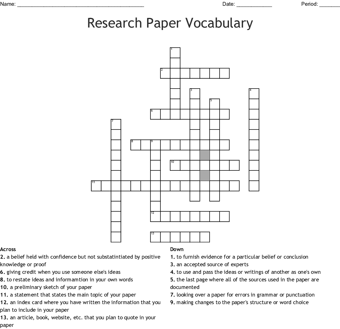 005 Research Vocabulary 149348 Academic Researchs Crossword Awful Papers Paper Clue Full