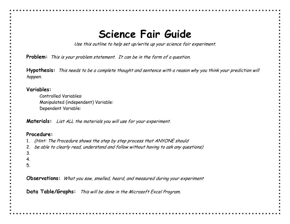005 Science Fair Research Stunning Paper Example High School Middle 960
