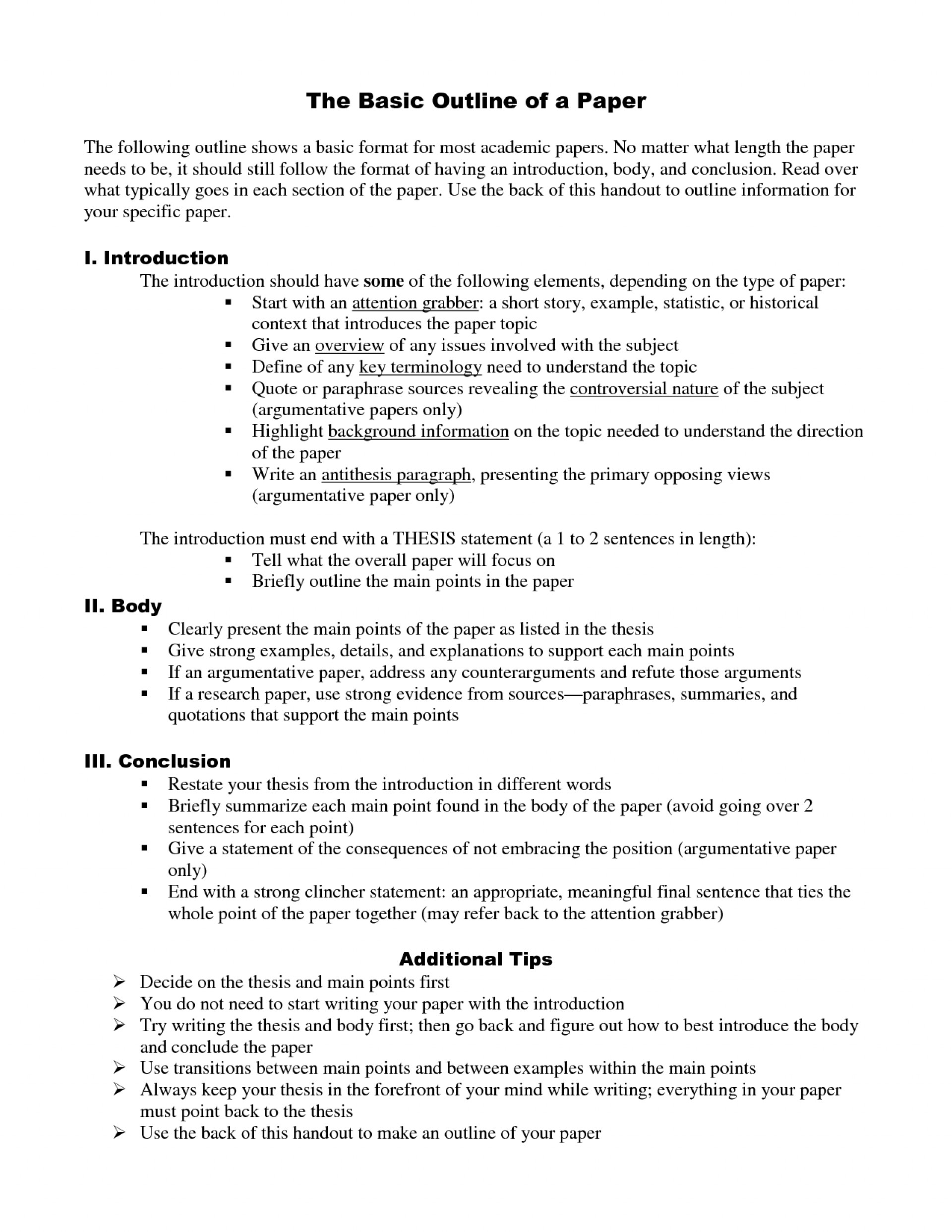 005 Seminary Research Paper Conclusion Example Outline Template 7gk Inside Components Imposing Of Main A 1920