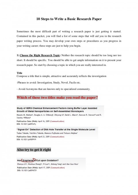 006 10stepstowriteabasicresearchpaper Thumbnail Research Paper How To Sensational Start Write Presentation Way Writing 480
