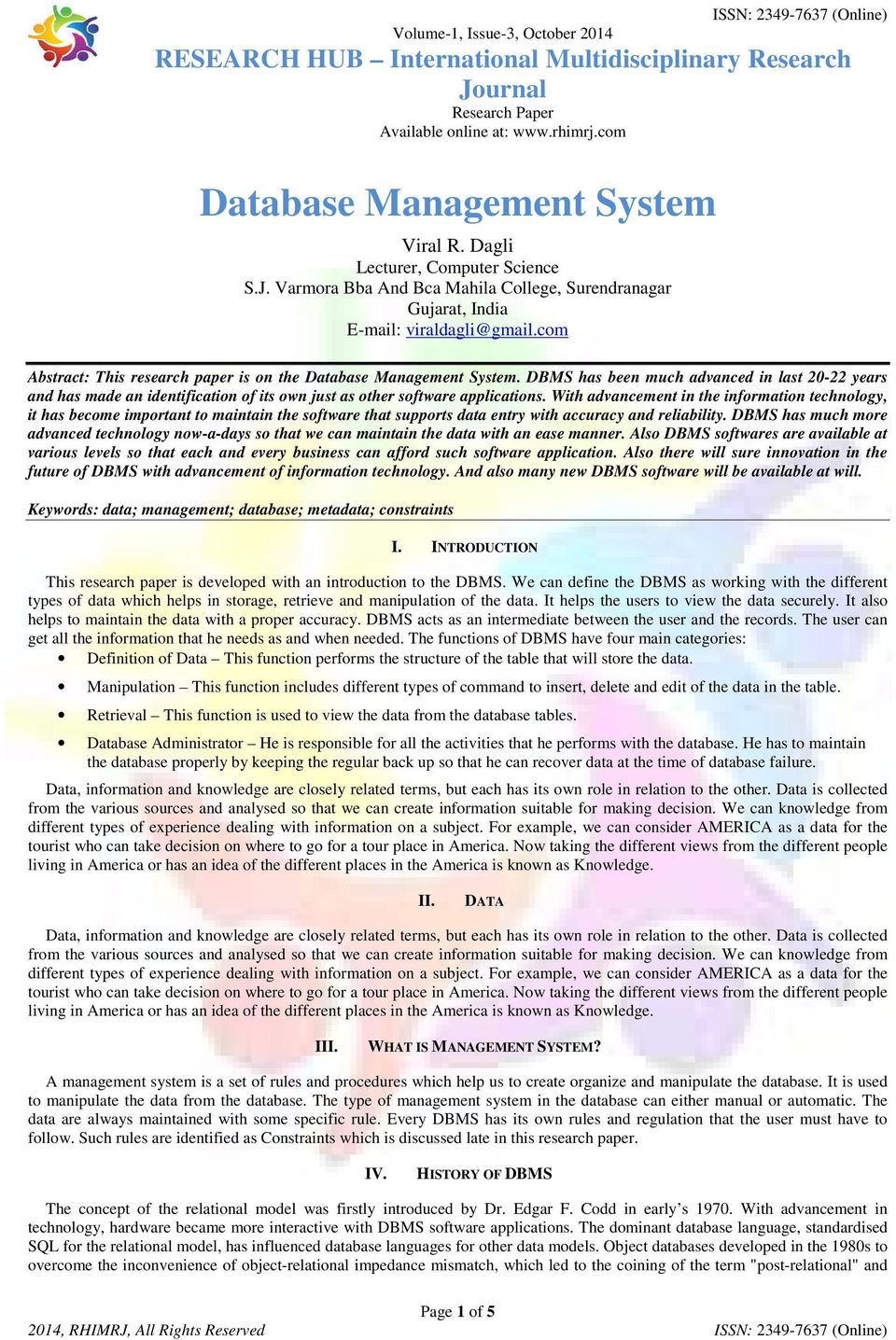 006 Advanced Database Management System Research Papers Paper Page 1 Fantastic Full