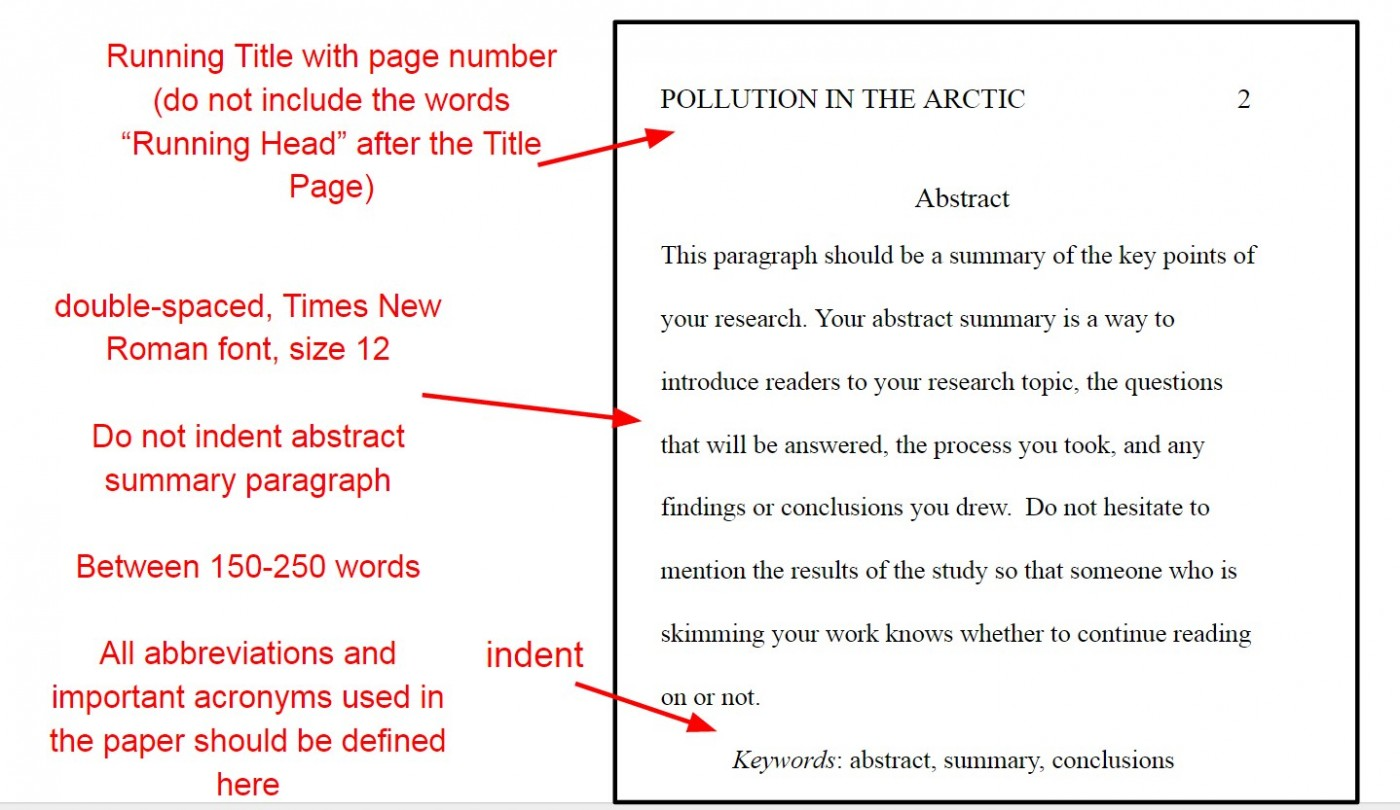 006 Apaabstractyo Apa Format For Research Imposing Paper Title Page Example References 1400