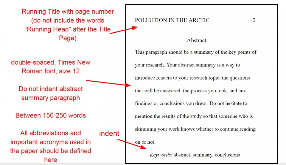 006 Apaabstractyo Apa Format For Research Imposing Paper Title Page Example References 960