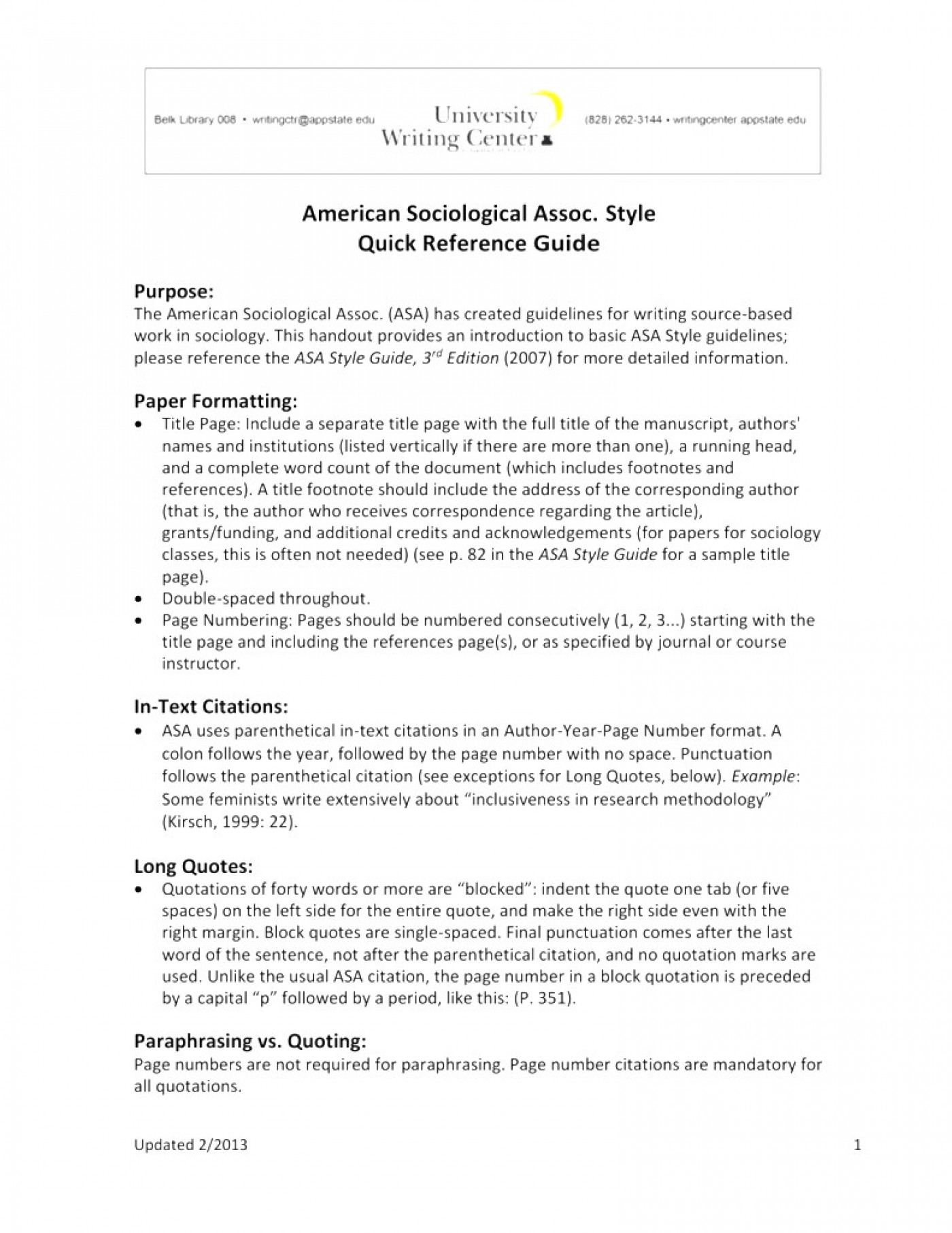 006 Asa Format Research Paper Example Writing Style Singular 1400
