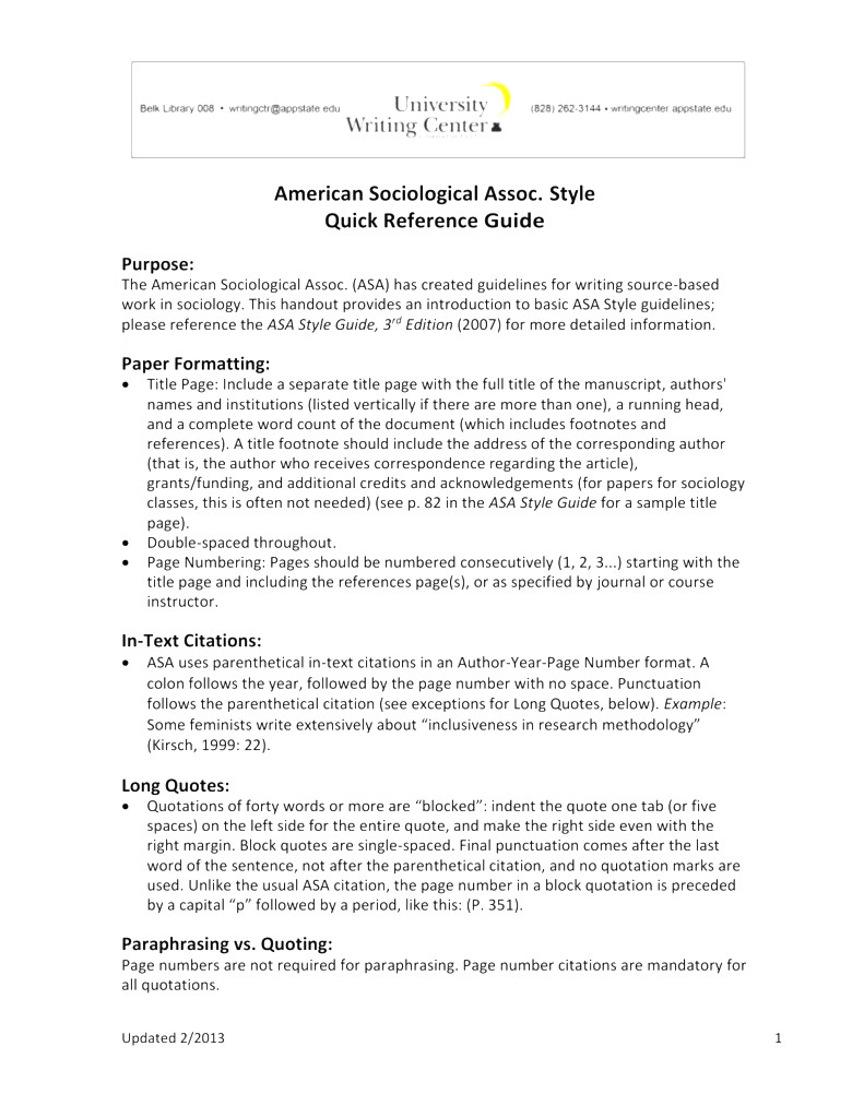 006 Asa Format Research Paper Example Writing Style Singular Full