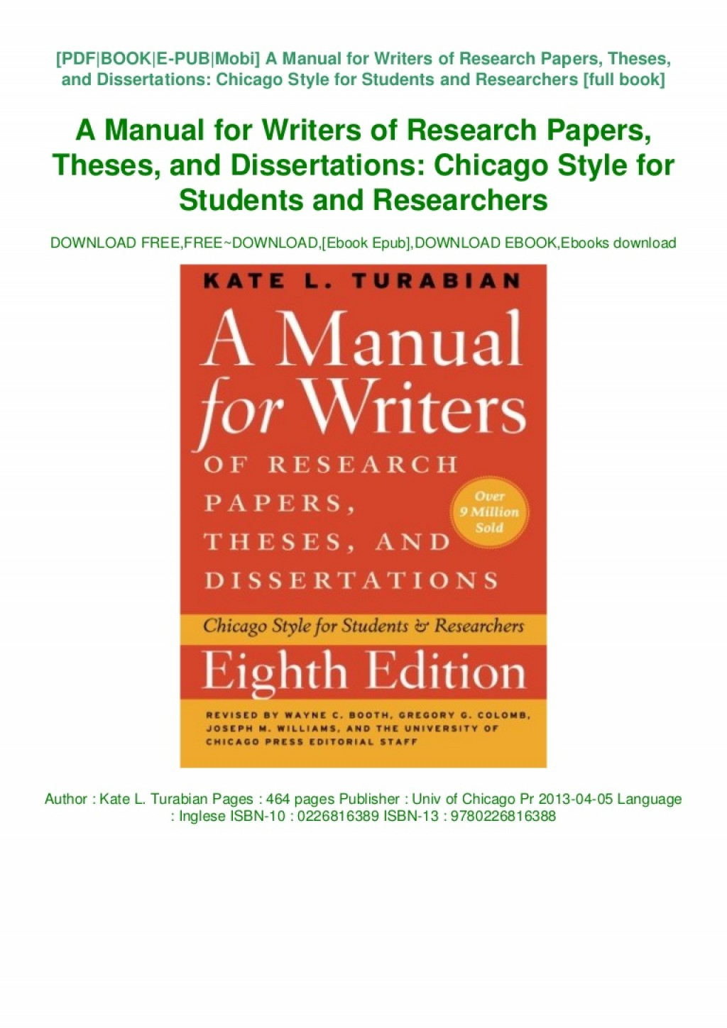 006 Book Manual For Writers Of Research Papers Theses And Thumbnail Paper Dissertations Fearsome A Ed 8 Large