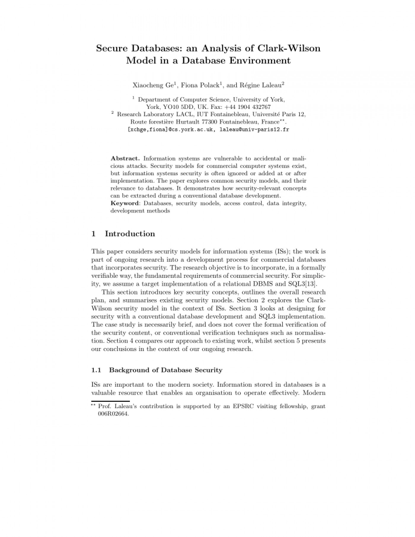 006 Database Security Research Paper Abstract Fascinating 1400