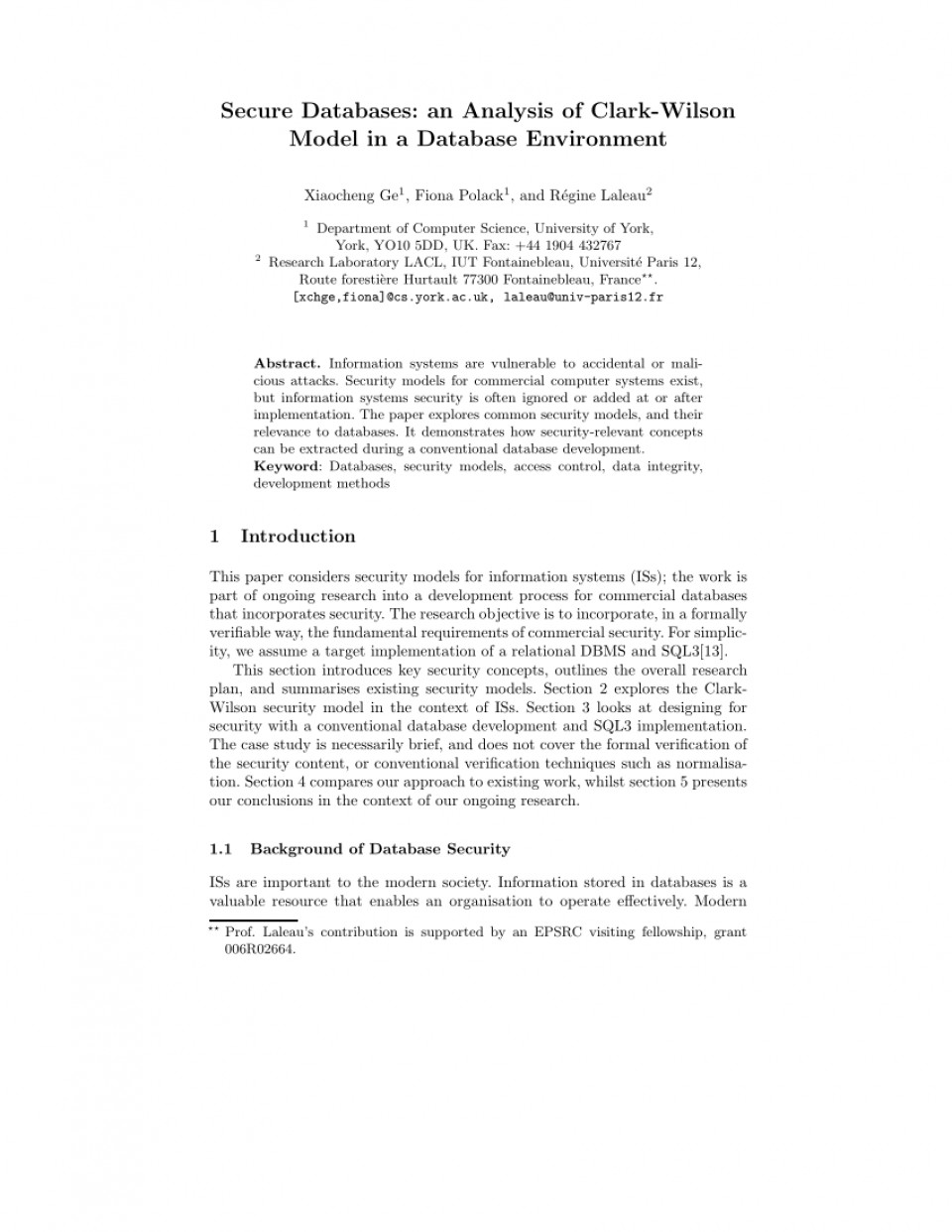 006 Database Security Research Paper Abstract Fascinating 960