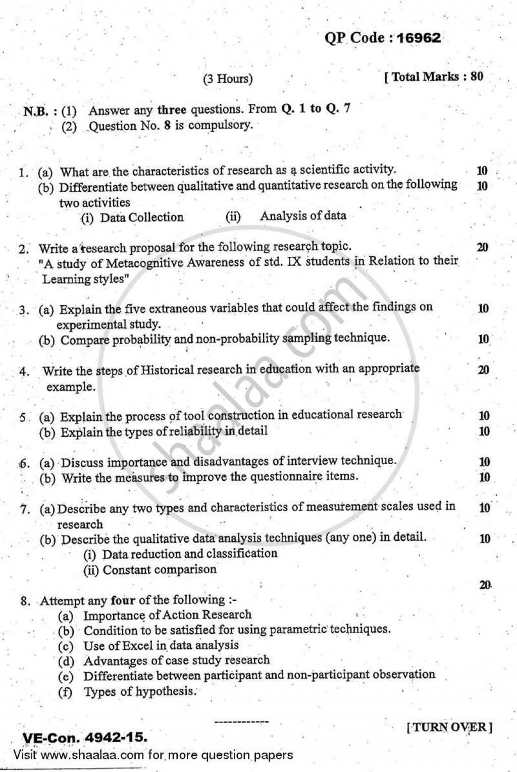 006 Educational Research Past Exams University Of Mumbai Master Ma Methodology Education Yearly Pattern Part 2015 2b713b81467684597a5dc66013a64e0a3 Amazing Exam Papers Large