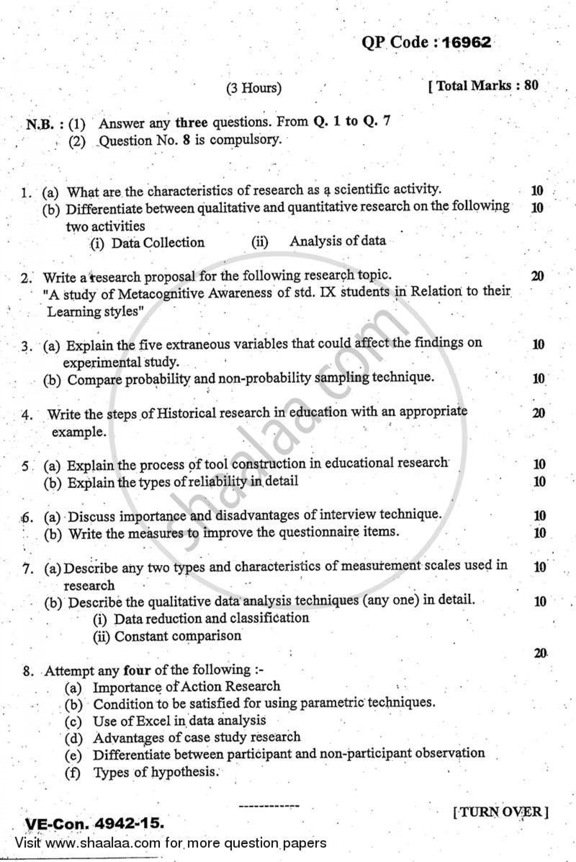 006 Educational Research Past Exams University Of Mumbai Master Ma Methodology Education Yearly Pattern Part 2015 2b713b81467684597a5dc66013a64e0a3 Amazing Exam Papers 1920