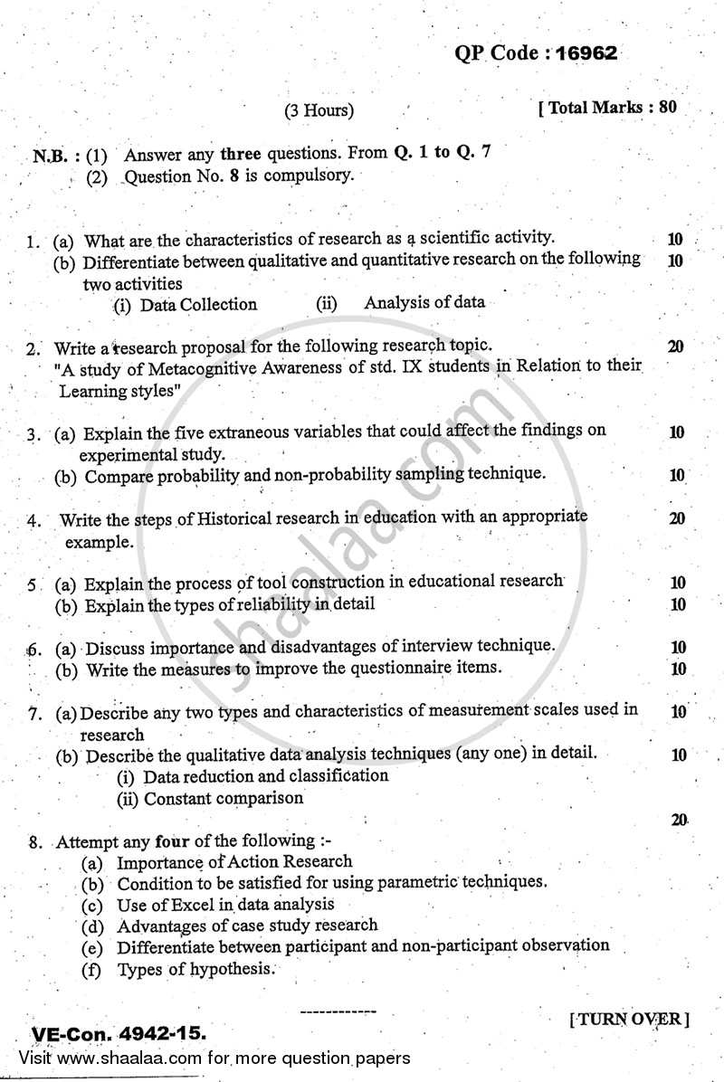 006 Educational Research Past Exams University Of Mumbai Master Ma Methodology Education Yearly Pattern Part 2015 2b713b81467684597a5dc66013a64e0a3 Amazing Exam Papers Full